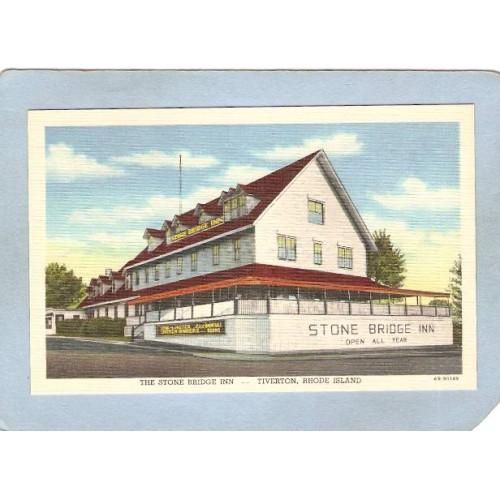 RI Tiverton Postcard The Stone Bridge Inn ri_box3~1144