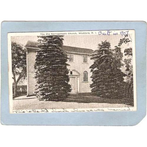 RI Wickford Postcard The Old Narragansett Church ri_box3~1208