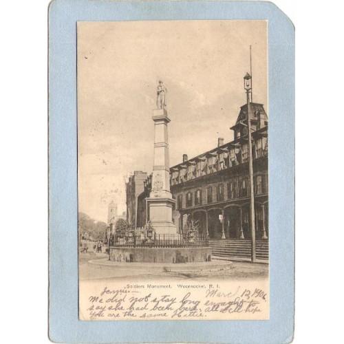 RI Woonsocket Postcard Soldiers Monument Undivided Back ri_box3~1243