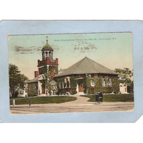 Rhode Island Woonsocket Postcard Globe Congregational Church So Main St St~1269