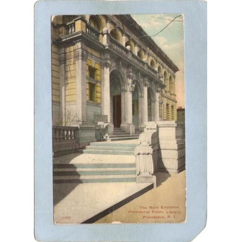 RI Providence Postcard Main Entrance Providence Public Library ri_box3~1319