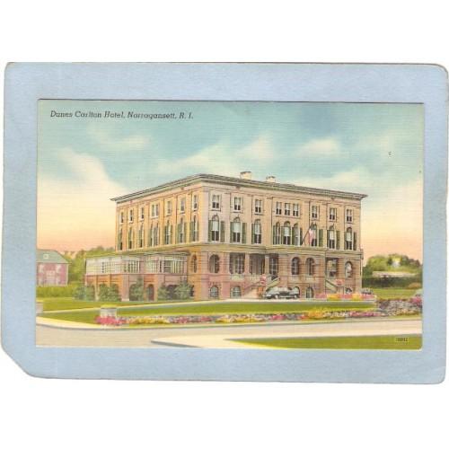 RI Narragansett Dunes Carlton Hotel w/Old Car ri_box3~749
