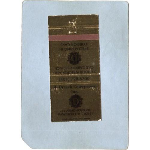 RI Pawtucket Matchcover R Drezek Enterprises Inc 241 Armistice Blvd ri_~914