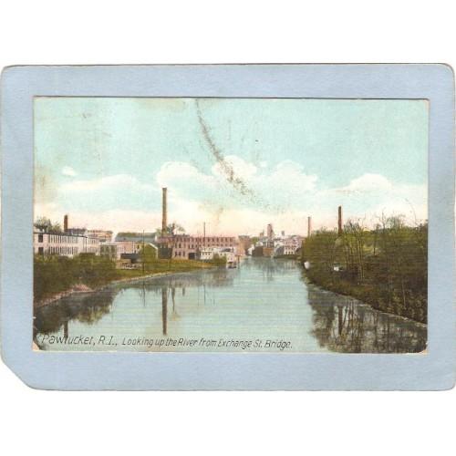 RI Pawtucket Postcard Looking Up The River From Exchange St Bridge ri_b~934