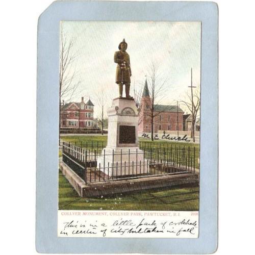 RI Pawtucket Postcard Collyer Monument Collyer Park ri_box3~948