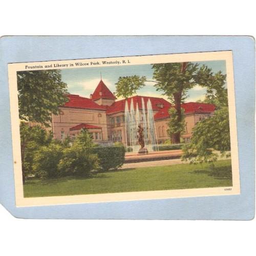RI Westerly Fountain & Library In Wilcox Park ri_box3~988