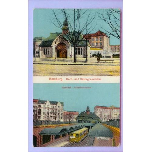 GER Hamburg Hoch & Untergrundbahn Top Half View Small Stone Building w/Tow~134
