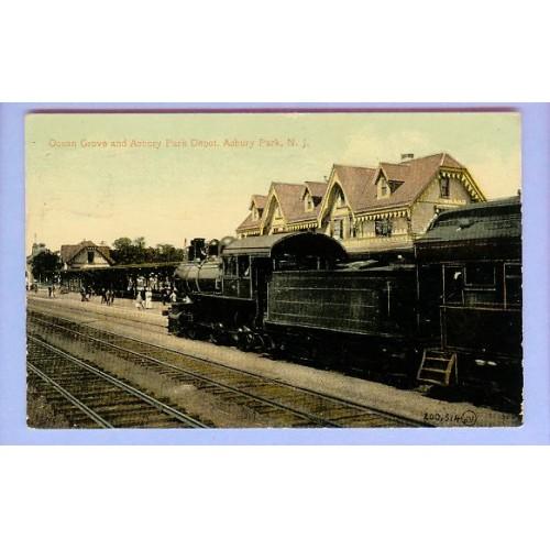 NJ Asbury Park Ocean Grove & Asbury Park Depot View From Tracks Steam Engi~177
