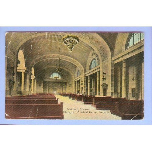 MI Detroit Waiting Room Michigan Central Depot Interior View High Ceilinge~47