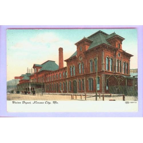 MO Kansas City Union Depot View Large Brick Station w/Horses & Wagons Out ~58