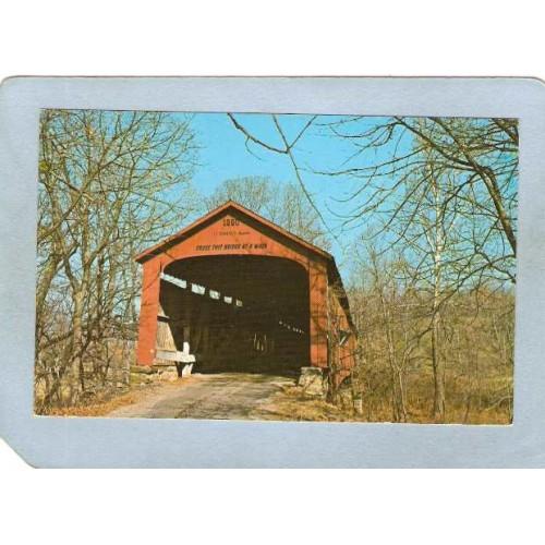 IN Rosedale Covered Bridge Postcard #14-61-08 Red Bridge Over Big Raccoon ~111