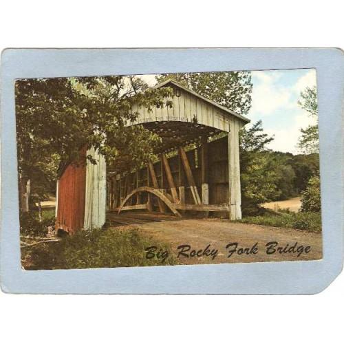 IN Mansfield Covered Bridge Postcard #14-61-01 Big Rocky Fork Bridge Over ~112