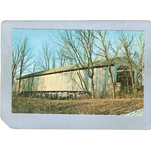 IN Illinois Line Covered Bridge Postcard State Sanatorium Bridge Over Litt~121
