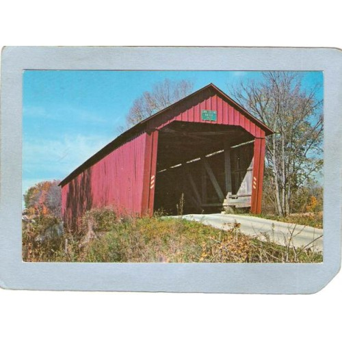 IN Clinton Falls Covered Bridge Postcard #14-67-06 Edna Collins Bridge Ove~126