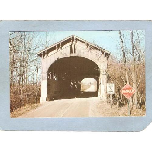 IN Farmland Covered Bridge Postcard #14-68-02 Wright Bridge Over West Fork~128