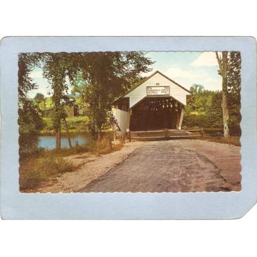ME Porter Covered Bridge Postcard Porter Bridge Over Ossipee River Rippled~167