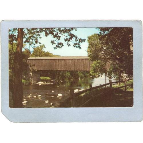 ME Sangervile Covered Bridge Postcard Low's Bridge Over Piscataquis River ~176