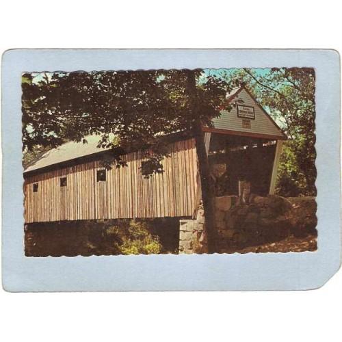 ME South Andover Covered Bridge Postcard Lovejoy Bridge Rippled Edges Worl~185