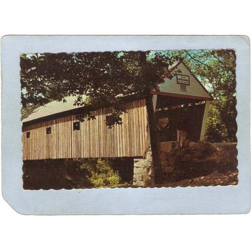 ME South Andover Covered Bridge Postcard Lovejoy Bridge Rippled Edges Worl~186