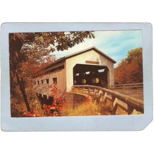 MA Charlemont Covered Bridge Postcard Bissell Bridge World Guide Number 21~200