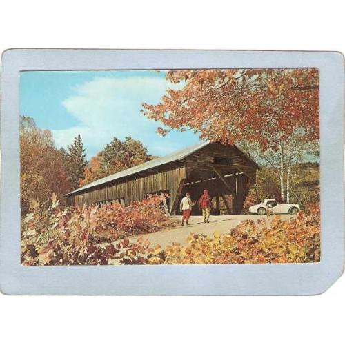 MA Sturbridge Covered Bridge Postcard Old Covered Bridge At Sturbridge Vil~218