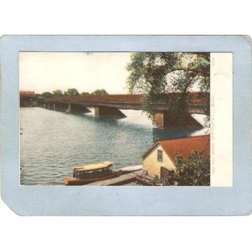 MA Springfield Covered Bridge Postcard Old Covered Bridge World Guide Numb~226