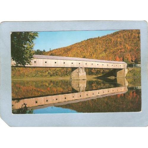NH Cornish Covered Bridge Postcard Cornish N H & Windsor VT Longest Covere~246