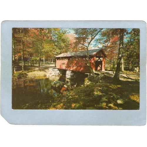 CT East Haddam Covered Bridge Postcard New Bridge Devil's Hopyard State Pa~25