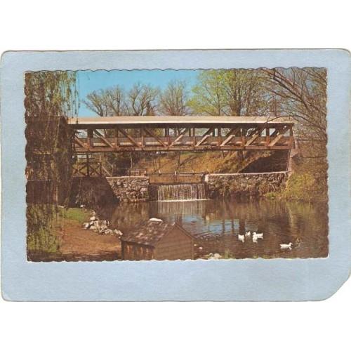 NH Bedford Covered Bridge Postcard Bridge & Mill Pond Rippled Edges World ~289