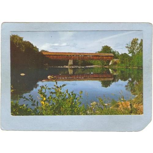NH Campton Covered Bridge Postcard Blair Bridge Over Pemigewasset River Wo~297