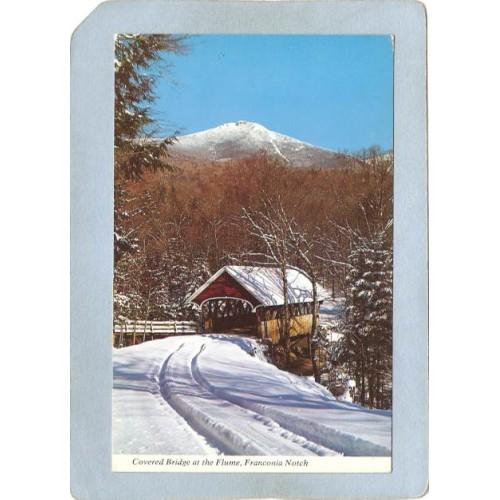 NH Franconia Notch Covered Bridge Postcard Bridge At The Flume World Guide~340