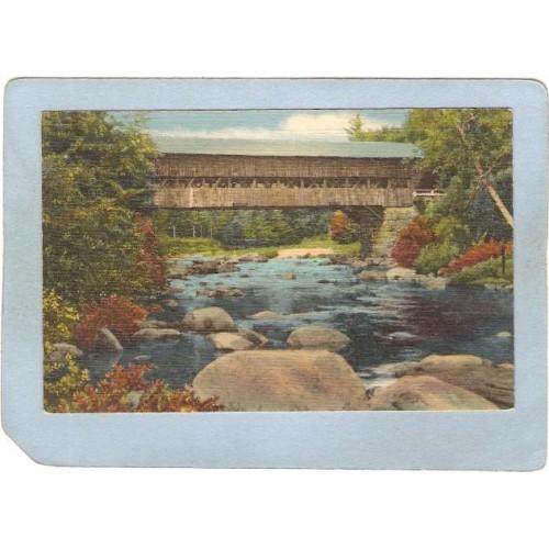 NH Jackson Covered Bridge Postcard Bridge Over Ellis River World Guide Num~366