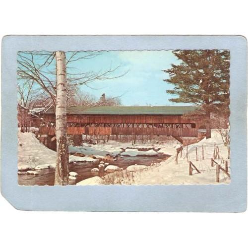 NH Jackson Covered Bridge Postcard Covered Bridge Rippled Edges World Guid~370
