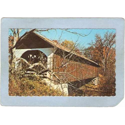 NH Lyme Covered Bridge Postcard Covered Bridge Rippled Edges World Guide N~391