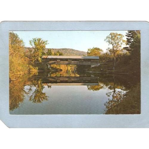 NH Lyme Covered Bridge Postcard Edgel Bridge Lyme-Oxford World Guide Numbe~392