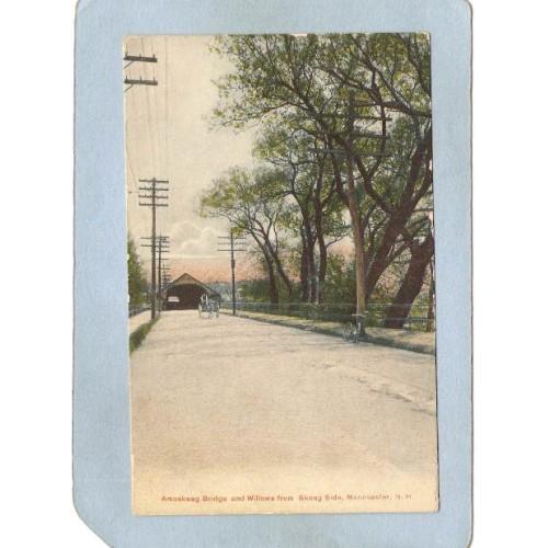 NH Manchester Covered Bridge Postcard Amoskeag B ridge & Willows From Skea~393