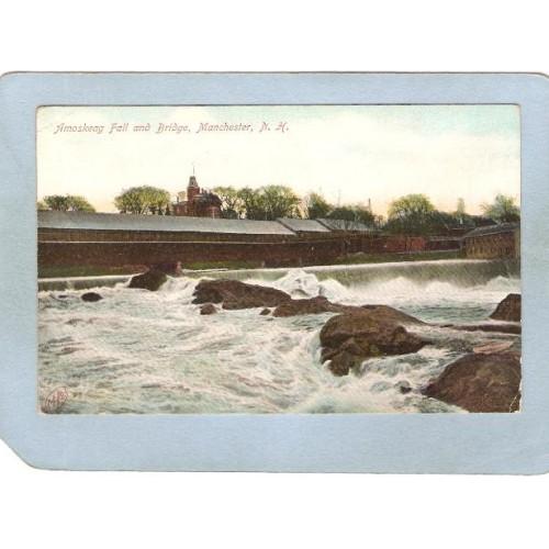 NH Manchester Covered Bridge Postcard Amoskeag Bridge & Falls World Guide ~396
