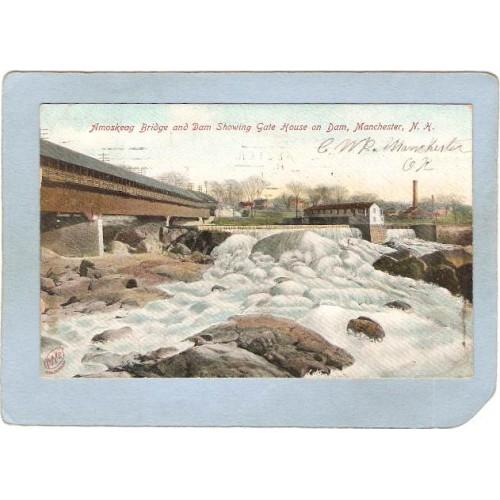 NH Manchester Covered Bridge Postcard Amoskeag Bridge & Dam Showing Gate H~397