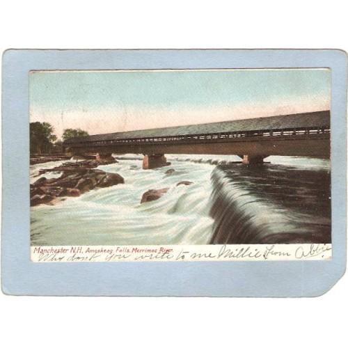 NH Manchester Covered Bridge Postcard Amoskeag Bridge & Falls Undivided Ba~403