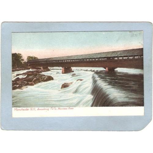 NH Manchester Covered Bridge Postcard Amoskeag Bridge & Falls World Guide ~407