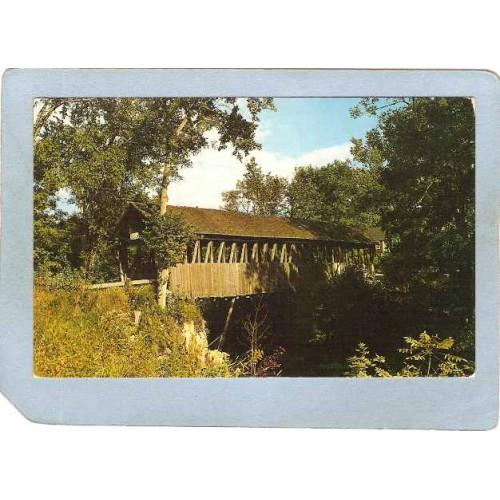 NH Meridan Covered Bridge Postcard Bloods Brook Covered Bridge World Guide~408