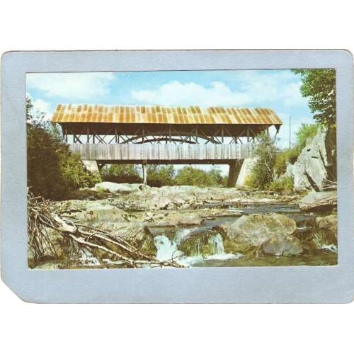 NH Pittsburg Covered Bridge Postcard Happy Corner Bridge Over Perry Stream~424