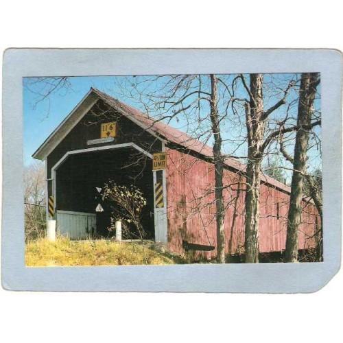 NH East Swanzey Covered Bridge Postcard Sawyer's Crossing Bridge Over Ashe~449