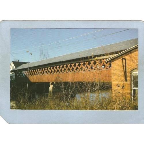NH West Swanzey Covered Bridge Postcard Thompson Bridge Over Asheulot Rive~450