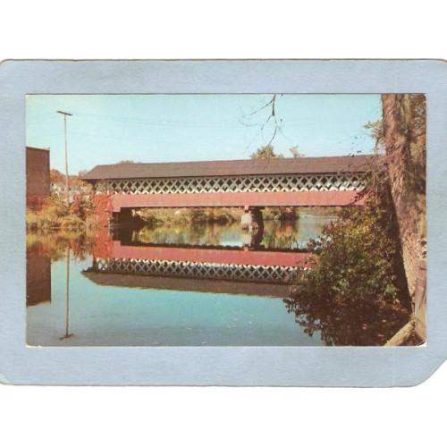 NH West Swanzey Covered Bridge Postcard Thompson Bridge Over Asheulot Rive~451
