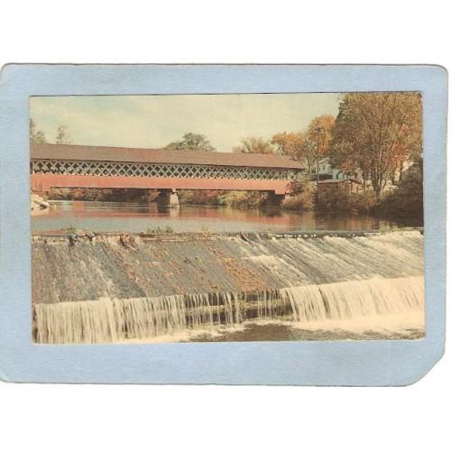 NH West Swanzey Covered Bridge Postcard Thompson Bridge Over Asheulot Rive~455