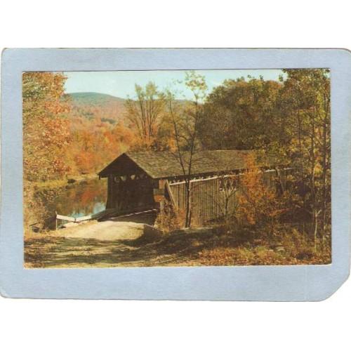 New York Livingston Manor Covered Bridge Postcard Bridge At Beaverkill Cam~489