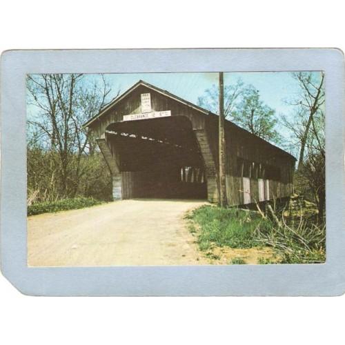 IN Preble County Covered Bridge Postcard State Line Covered Bridge Preble ~57