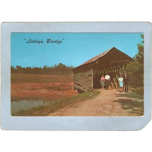 AL Culman Covered Bridge Postcard Liddy's Bridge On Liddy's Lake World Gui~6