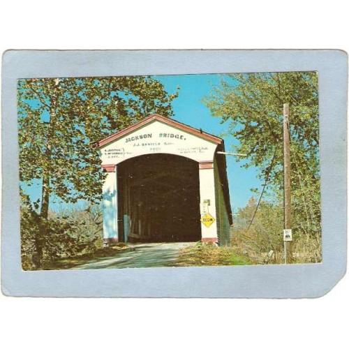IN -Rockville Covered Bridge Postcard #14-61-28 Jackson Bridge Over Sugar ~90